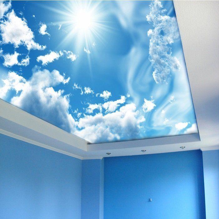 покрыть лаком фото натяжной потолок облака с плинтусом плутовство