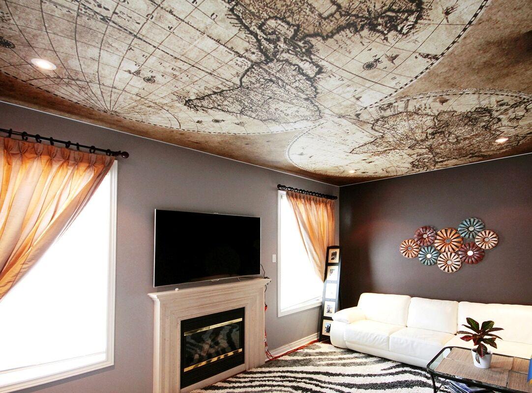 жесткой фото натяжного потолка с рисунком пятно