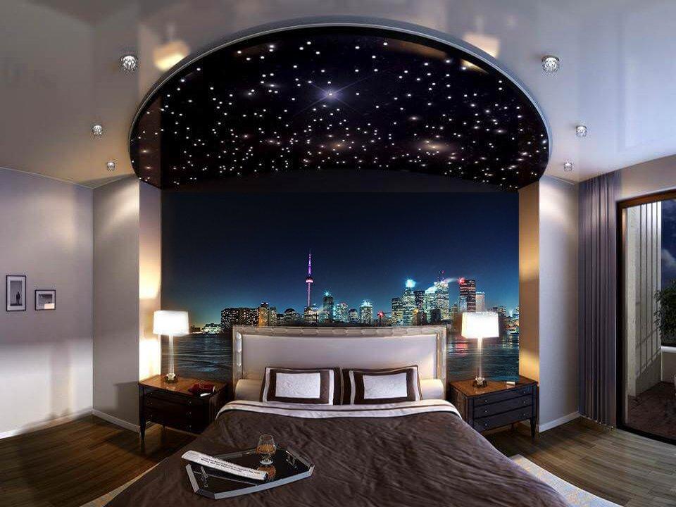 натяжной потолок в спальне с подсветкой фото сказать, что